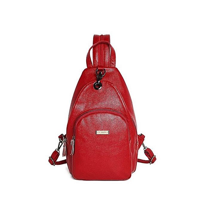 Fashion Retro Pure Couleur Chest Bag Shoulder Bag  wine rouge à prix pas cher