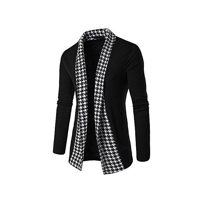 Eissely Hommes& 039;s Slim Fit manche longue Patchwork chemisier hauts Coat Outwear - noir à prix pas cher