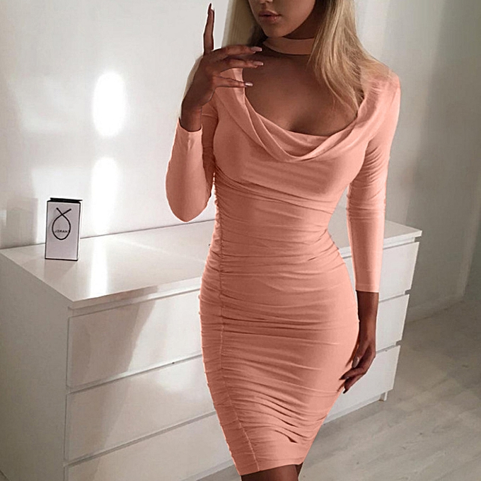Fashion femmes Fashion Solid Long Sleeve O-Neck Pleated Leaking Chest Hip Sexy Dress à prix pas cher