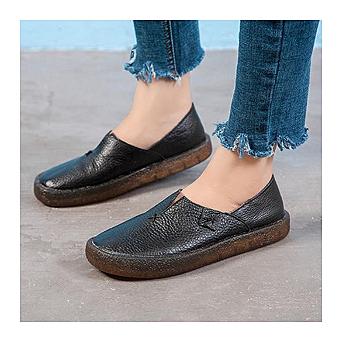 Fashion Fashion Fashion Fashion WoHommes  Splicing Leather Handmade Lazy Casual Flat Shoes Loafers à prix pas cher  | Jumia Maroc 7eb321