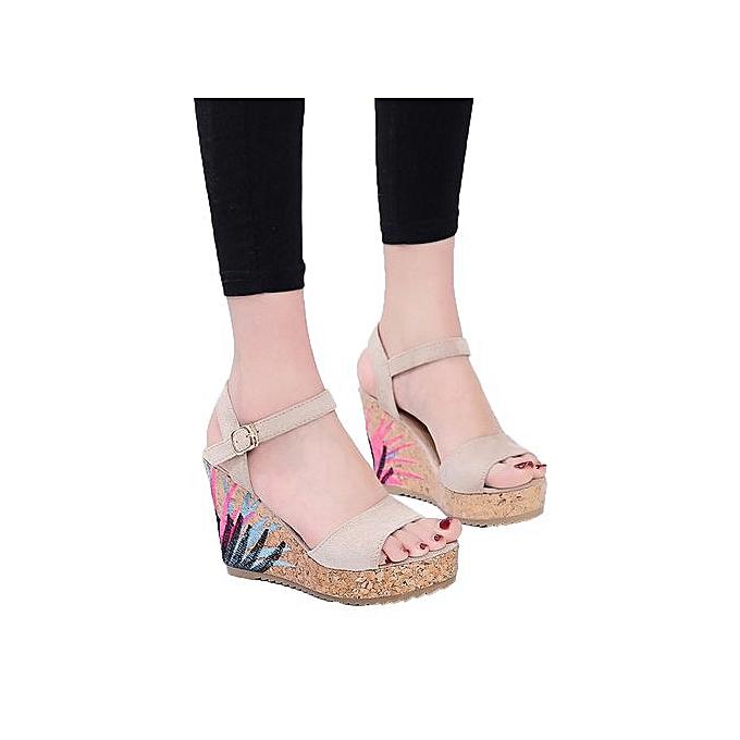 Fashion Jiahsyc Store Bohemian femmes Sandals Ankle Strap Straw Platform Wedges chaussures talons hauts Sandal-Beige à prix pas cher