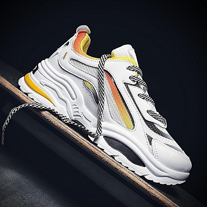 Fashion Fashion New Tide chaussures Men's Sports chaussures Casual chaussures-blanc à prix pas cher