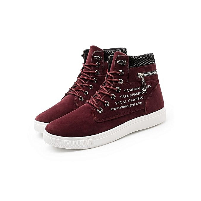 Fashion Men bottes Leather Footwear For Man High Top Canvas Casual chaussures-rouge à prix pas cher