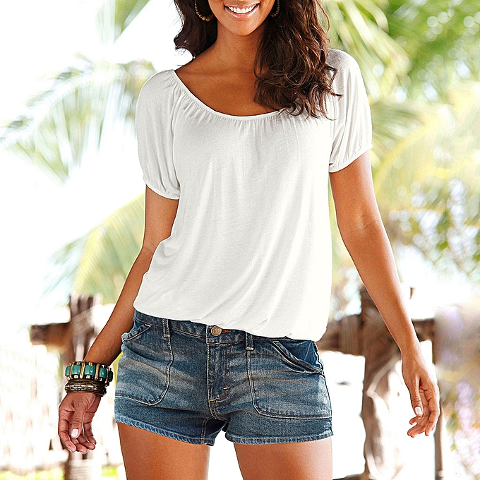 Fashion TCE femmes Summer Short Sleeve O Neck Backless Solid Slim Fit Tee Shirt Top Blouse à prix pas cher
