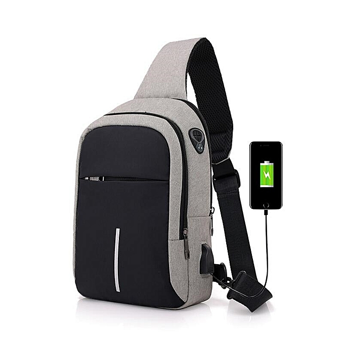 Other FengDong small usb charge one shoulder bag men messenger bags male waterproof sling chest bag 2019 new bagpack cross body bags(light gris) à prix pas cher