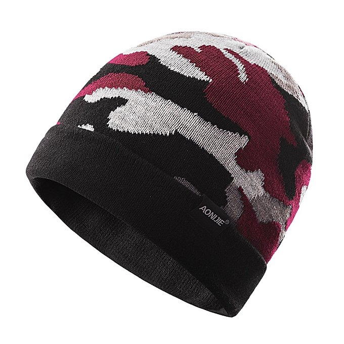 AONIJIE Unisex Winter Warm Sports Slouchy Cuffed Knit Beanie Hat Skull Cap For Running Jogging Marathon Travelling Cycling M26(rouge Camo) à prix pas cher