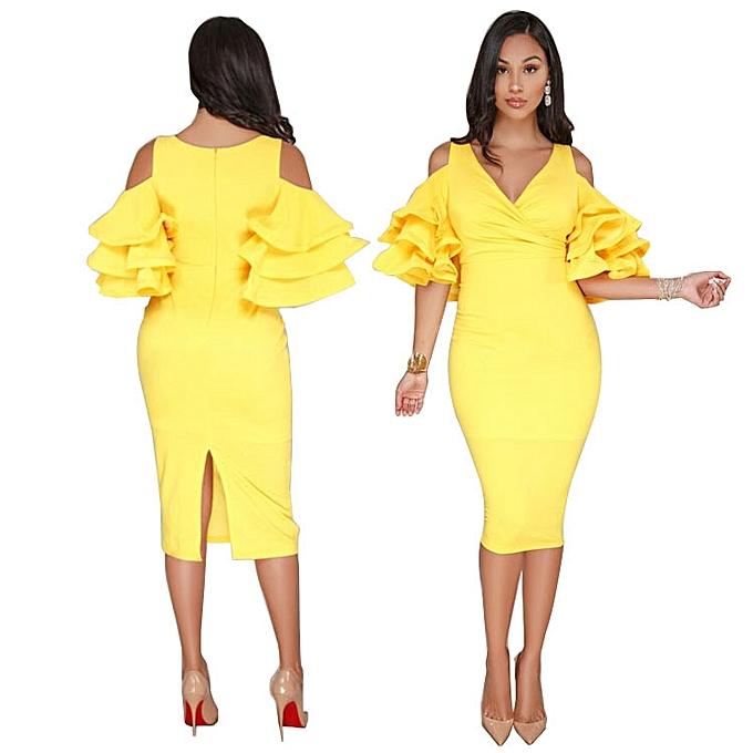 OEM New Summer Dress Lotus Leaf Commuter Dress-jaune à prix pas cher