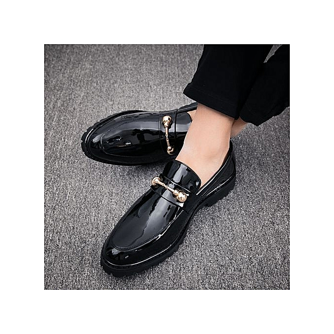 Fashion Slip On Formal chaussures Men Patent Leather Moccasins Business Casual Loafers -noir à prix pas cher    Jumia Maroc