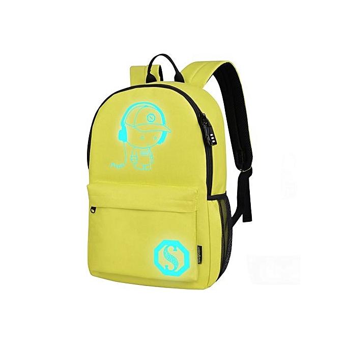 nouveauorldline Unisex lumière Preppy Teenagers Noctilucent voituretoon School sacs Student sac à dos - jaune à prix pas cher