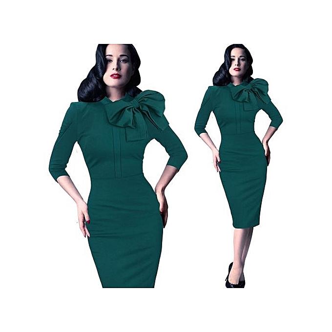 mode femmes Vintage Pinup Rockabilly Elegant Wear To Work Affaires Décontracté Tunic Bodycon Sheath Pencil Robe Slim Wiggle Sheath Robe-vert à prix pas cher