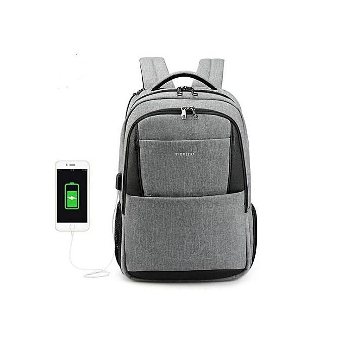 Fashion 15.6 laptop backpack men usb large travel backpacks slim waterproof anti theft gris à prix pas cher
