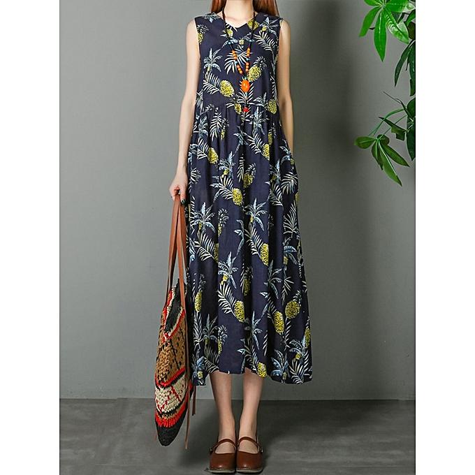 Fashion Cotton Sleeveless V-neck Pineapple Pattern Beach Dress à prix pas cher