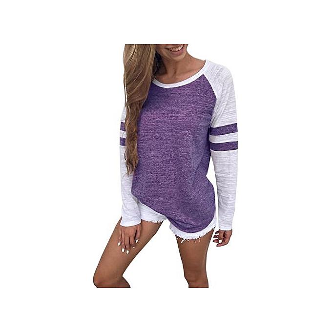 Fashion Tectores 2018 Fashion Trend femmes Ladies Long Sleeve Splice Blouse Tops Clothes T Shirt à prix pas cher