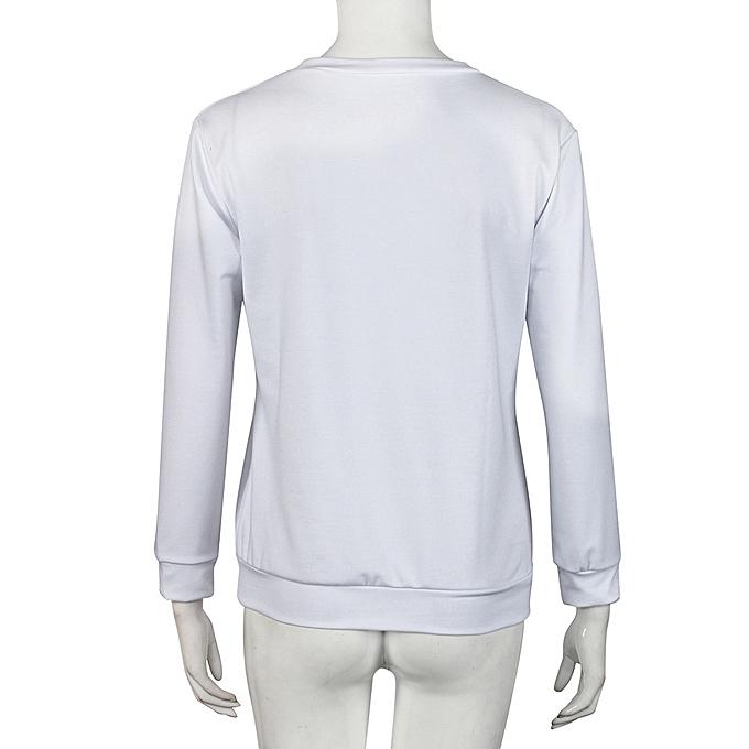 mode Hiamok Sexy femmes& 039;s Ladies manche longue Print T-Shirt hauts Décontracté chemisier WH L à prix pas cher