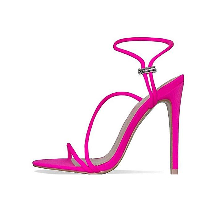Fashion Fluorescent large Taille pointed stiletto sandals rouge à prix pas cher
