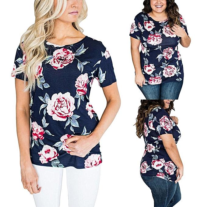 Generic Generic femmes manche courte Round Neck Floral Printed chemisier Décontracté hauts T Shirt A1 à prix pas cher