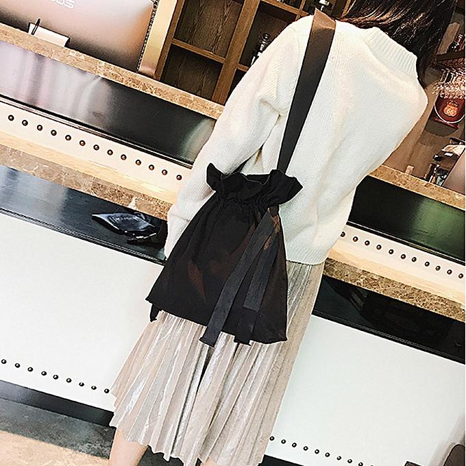 nouveauorldline femmes mode Solid toile sac à doss Shopping voyage Drawstbague sac -noir à prix pas cher