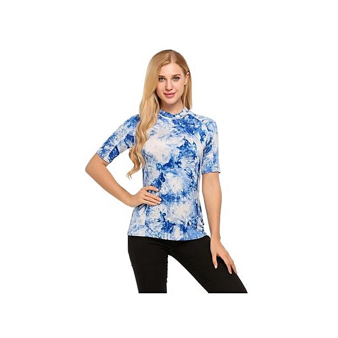 Sunshine femmes Fashion O-Neck Short Sleeve Contrast Couleur T-Shirt-bleu à prix pas cher