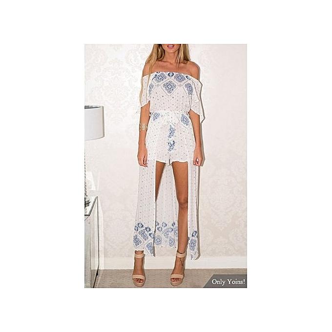 Fashion YOINS Ethnic Print Off The Shoulder Split Sleeves Maxi Playsuit With Belt à prix pas cher