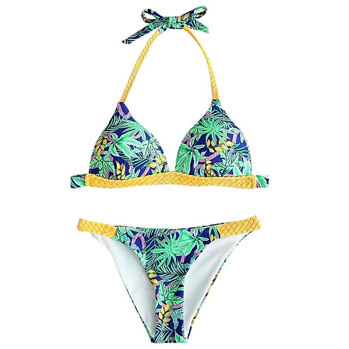 Generic HL Braided Strap Print Bikini Set (bleu,vert) (L, XL, M) à prix pas cher