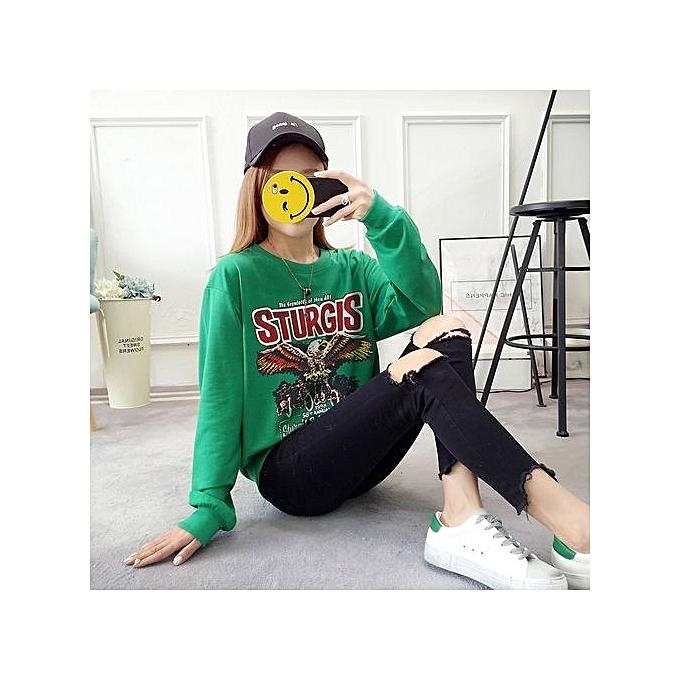 Fashion vert femmes Printed Vintage Loose Cartoon Cotton Casual Top à prix pas cher