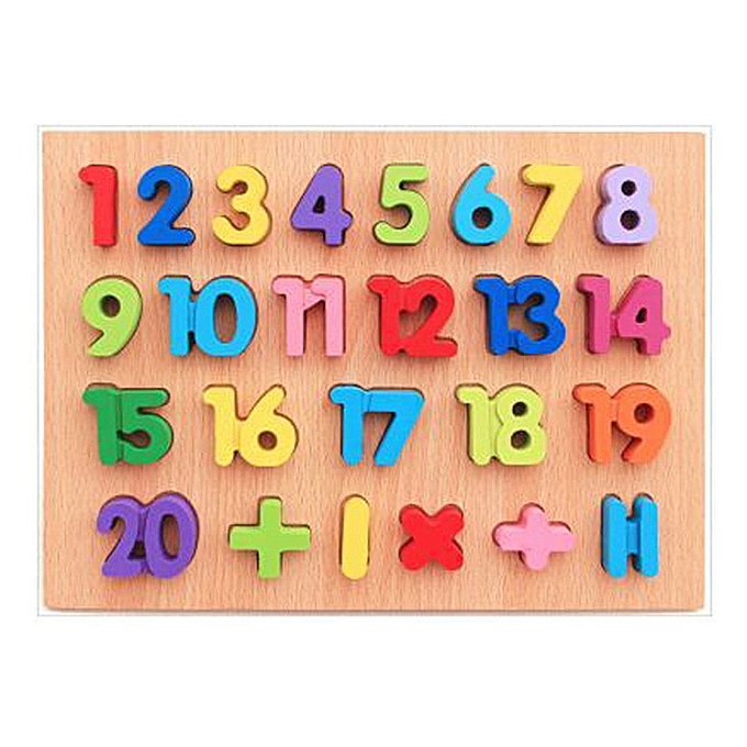 Generic Fovibery Wooden Kids Numbers And Letters Jigsaw For  Education And Learning Puzzles Toy à prix pas cher