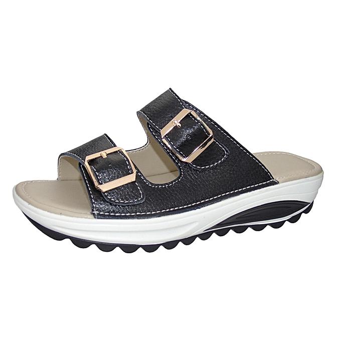 Fashion Blicool Shop femmes Sandals Popular Summer femmes Casual Sandals Beach Slipper Peep Toe  Platform Soft chaussures-noir à prix pas cher