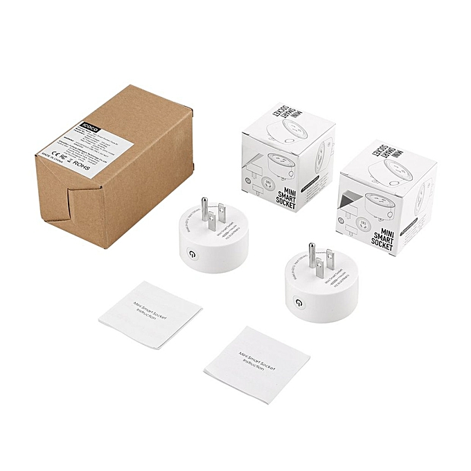 Generic OR Round Mini Smart Socket Wireless WiFi Power Plug Remote Control Timing-blanc-US Plug à prix pas cher