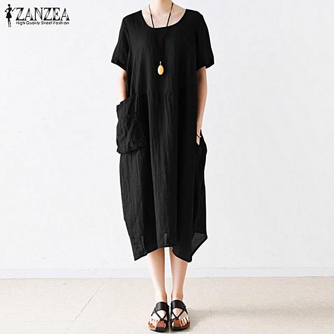 Fashion S-5XL ZANZEA Robe mi-longue à manches longues en vrac pour femme à prix pas cher