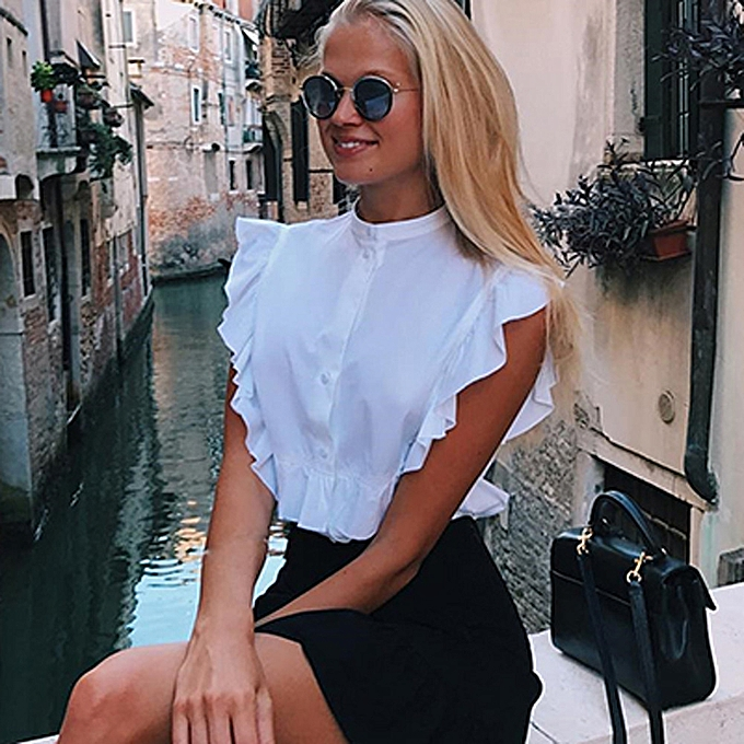 Generic Generic femmes Summer Ruffles Sleeveless Button Blouse Short Top Shirt Crop Tank Vest A1 à prix pas cher
