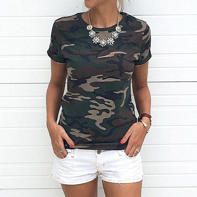 mode femmes& 039;s été Round Neck manche courte Camouflage Pattern Fitted Décontracté hauts chemisier T-shirt vert à prix pas cher