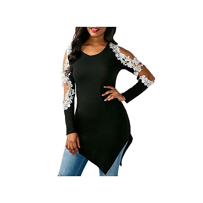 Fashion Hiamok femmes Sexy Lace Shirt Long Sleeve Shirt Casual Tops Ladies Long Blouse XL à prix pas cher