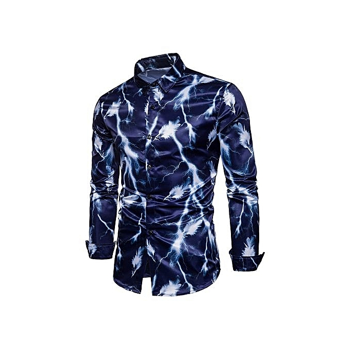 mode Turndown Collar 3D lumièrening Feather Print Shirt_CADETbleu à prix pas cher