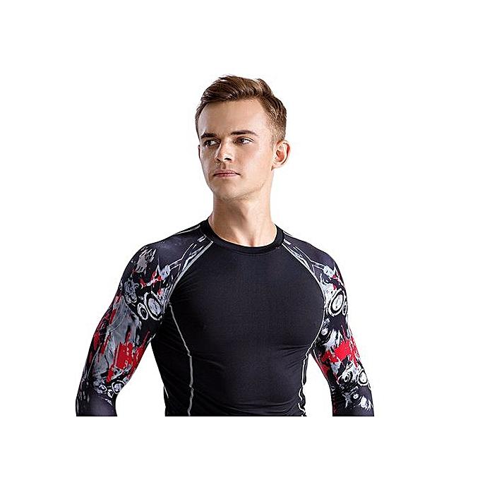 mode Xiuxingzi_Pour des hommes manche longues Compression Tight Skin Sides hauts Shirts FonctionneHommest Training à prix pas cher