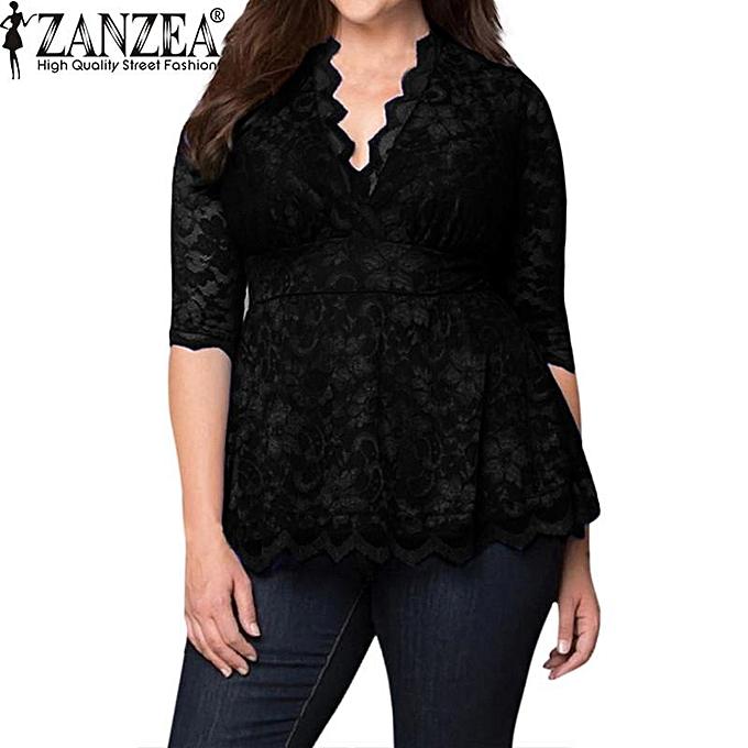 Fashion ZANZEA Trendy S-6XL femmes surdimensionnées en dentelle à décolleté plongeant au décolleté profond et à hommeches en dentelle Tops en mousseline de soie T-shirts Hot Flare Swing (noir) à prix pas cher