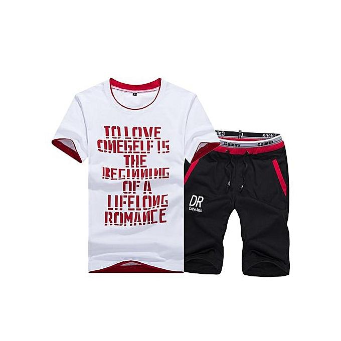 Other Printed Sports Suit  Tees Shorts Two Piece  Suit-rouge à prix pas cher