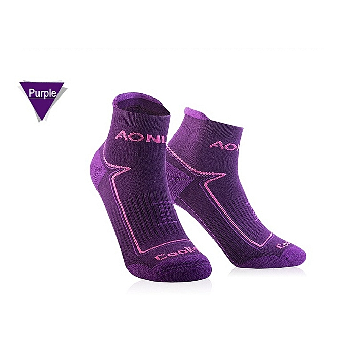 AONIJIE 2 Paris Lot Breathable Sport Socks Men Outdoor Wearproof Antiskid Running Basketball Soccer Cycling Yoga Socks(violet)(L) à prix pas cher