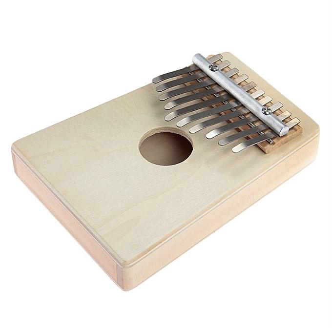Generic DM 10 Keys Kalimba Mbira Likembe Sanza Thumb Piano Pine lumière jaune InstruHommest-natural Couleur à prix pas cher