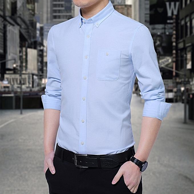 Tauntte Cotton Slim Formal Shirts Men Long Sleeve Shirts (Sky bleu) à prix pas cher