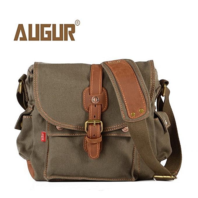 Other 2017 toile cuir bandoulière sac Hommes   Vintage Messenger sacs grand Shoulder sac Décontracté voyage sacs(arm vert) à prix pas cher