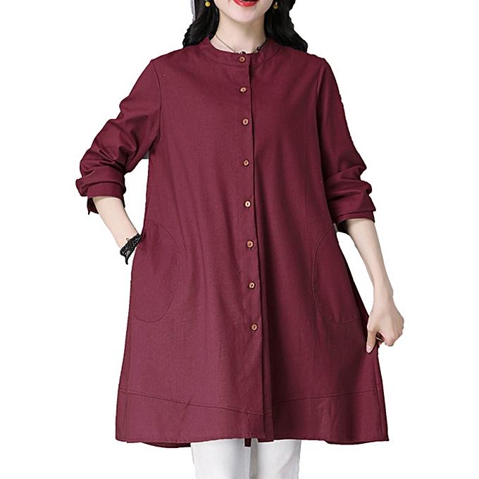 mode Décontracté femmes Buttons Linen Cotton Solid Couleur chemisier à prix pas cher