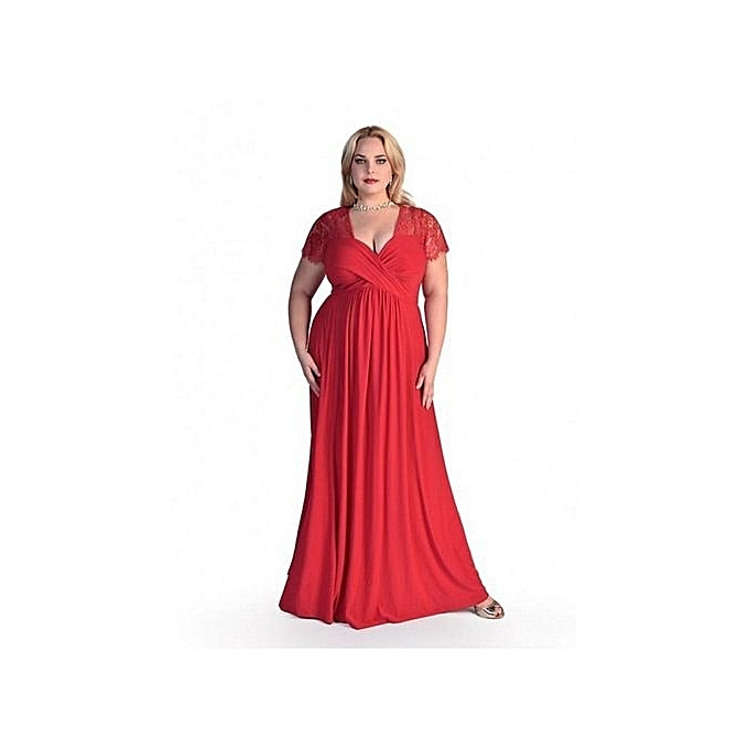 Generic Nice Plus Taille Robe Nice femmes& 039;s Sexy V-neck Lace courte-sleeved Loose Fat Crush grand Taille Solid Robe-rouge à prix pas cher