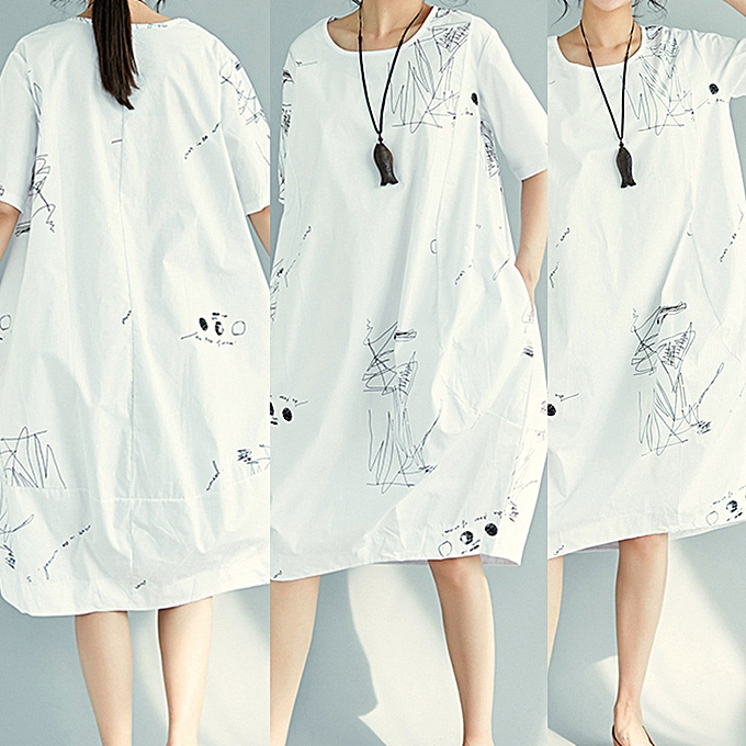 Fashion femmes Printing Short Sleevel Pocket Cotton Loose Bohe Casual Dress WH XL à prix pas cher