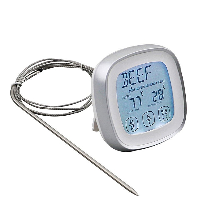 Other Touchscreen Digital Food Thermometer Instant Read Meat Thermometer With Timer Alert And Long Food Grade Probe For Kitchen Cooking BBQ Grill (argent) LJMALL à prix pas cher