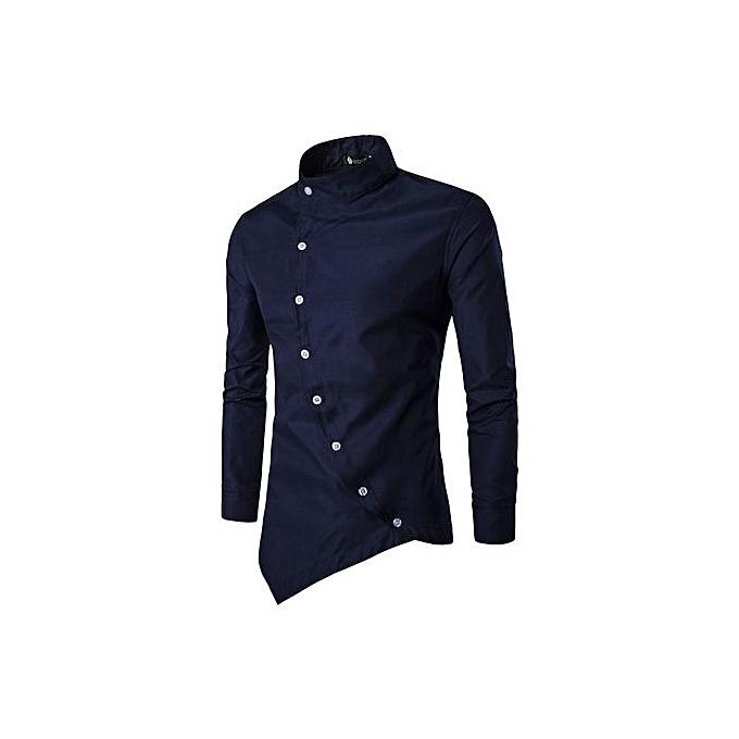 Fashion 2018 Fashion Male Shirt Long-Sleeves Tops Solid Couleur High Quality Mens Dress Shirts Slim Men Shirt 3Xl-navy bleu à prix pas cher