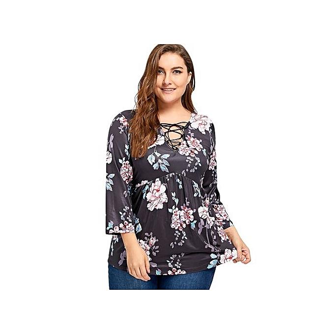 Generic HL Lace Up Floral Print Plus Taille Tee (noir)(XL-5XL) à prix pas cher