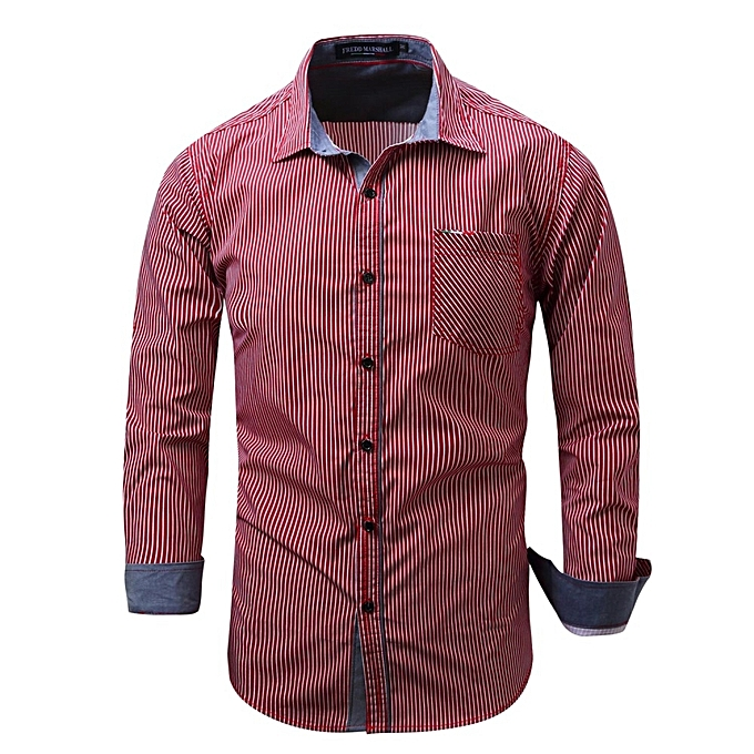 Fashion Mens Cotton Stripes Printing Long Sleeve Spring Autumn Turn-down Collar Casual Shirt rouge à prix pas cher
