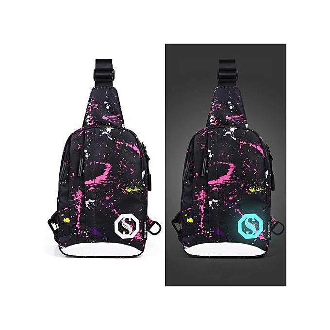 Neworldline Fashion Oxford Noctilucent Shoulder Bags Chest Crossbody Bag O-MultiCouleur à prix pas cher