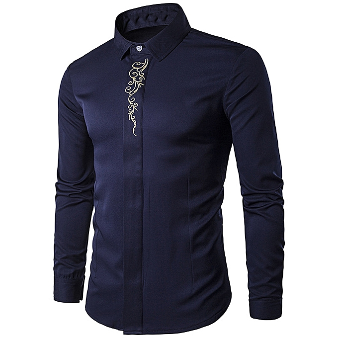 Fashion jiahsyc store  Mens Hipster Fit Long Sleeve Button Embroidery Down Dress Shirts Tops NY L à prix pas cher