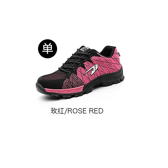 OEM respirant safety chaussures, en volant woven sports, anti-smashing and puncture safety chaussures, labor insurance chaussures-rose rouge à prix pas cher